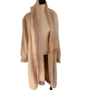 Maxi Faux Fur Coat Embroidered Scarf Neck Tie